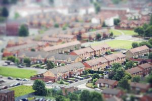 High angle view of houses in a neighbourhood in Liverpool, England.
