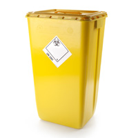 Yellow lidded clinical waste container - 60 Ltr